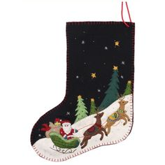 New World Arts Santa On Sleigh Stocking ($36) ❤ liked on Polyvore featuring home, home decor, holiday decorations, black multi, handmade christmas stockings, santa christmas stocking, black christmas stockings, handmade home decor and applique christmas stocking