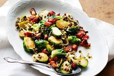 Sauteed brussels sprouts with speck & lentils