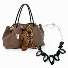 PRETTY IS AS PRETTY DOES - BROWN VALUE SET - SET OF 2 - Brown purse in animal friendly leather with braided handles and an animal print accent scarf. Necklace features brilliant multifaceted clear stones and black resin stones on a silver finish chain., $59.00