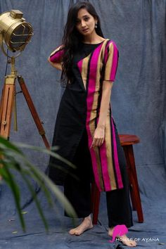 Chanel Brocade Kurti - House of Ayana Silk Kurti Designs, Simple Kurta Designs, Salwar Neck Designs, Kurta Neck Design, Dress Neck Designs, Kurta Designs Women, Kurti Designs Party Wear, Blouse Designs, Indian Fashion Dresses