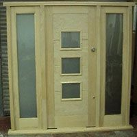 Odessa Oak Front Door with Frosted Glass Panels & Oak Sidelights