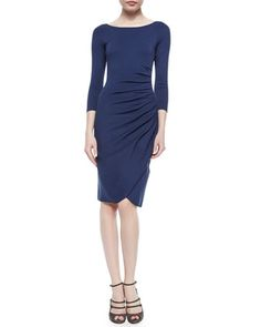 Bateau-Neck Side-Ruched Dress, Arles Blue by Armani Collezioni at Neiman Marcus.
