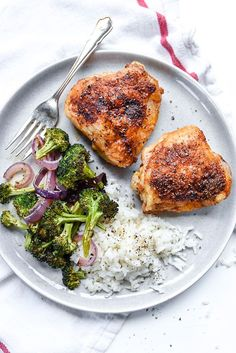 Juicy chicken thighs get a crispy skin thanks to a drizzle of olive oil and sprinkling of paprika spiced salt that takes just 5 minutes to prepare.