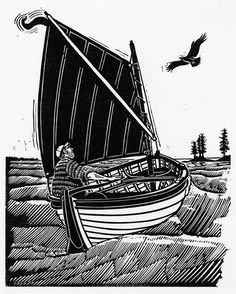 Around the Islands in Search of a Good Story - Linocut by James Dodds