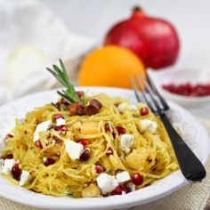Spaghetti Squash Pomegranate Salad by TheHealthyFoodie