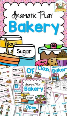 DRAMATIC PLAY BAKERY! Printable props to help you easily transform your dramatic play center into a delicious bakery. Includes literacy, math, and writing opportunities that align with current learning standards. (AD) #preschool #dramaticplay