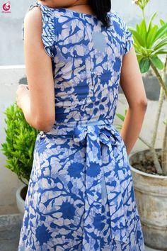 Buy Multicolored Printed Satin Georgette Kurti Set Online in India Kurti Back Neck Designs, Neck Designs For Suits, Fancy Blouse Designs, Dress Neck Designs, Printed Kurti Designs, Kalamkari Designs, Salwar Designs, Kurti Designs Party Wear, Sleeves Designs For Dresses