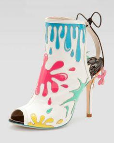 Sophia Webster Arty Party Paint-Splatter Patent Bootie, White/Multicolor
