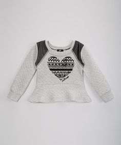 This Gray Geometric Heart Peplum Top - Girls is perfect! #zulilyfinds