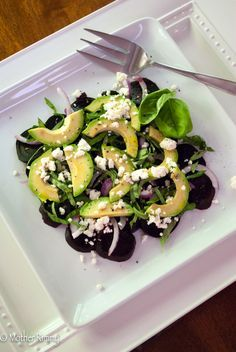 Beet and Avocado Salad w/ Feta Cheese and Basil @krimkus