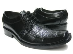 MEN'S BLACK GENUINE CROCODILE ALLIGATOR SKIN & LEATHER DRESS SHOES EXOTIC OXFORD
