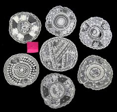 ANTIQUE C19TH LACE AND WHITE WORK DOILIES (7) in Antiques, Fabric/ Textiles, Lace/ Crochet/ Doilies   eBay