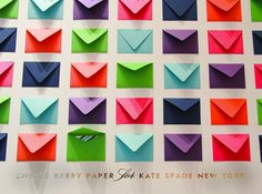 """Cheree Berry + Kate Spade...take a chance """"Cheree designed a grid with hundreds of tiny envelopes containing striped cards with spirited suggestions: eat cake for breakfast, smile at strangers, & sing outside the shower, to name a few! Guests are encouraged to take a chance & draw one, if they dare…"""""""