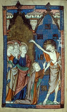 Doubting Thomas - One of the few undamaged miniatures of the Gough Psalter (c.1300-c.1310), one of the early 14th-century Fenland group of MSS. Thomas kneels at the centre of the composition reaching his long fingers towards the wound in the risen Christ's side as the other disciples look on.
