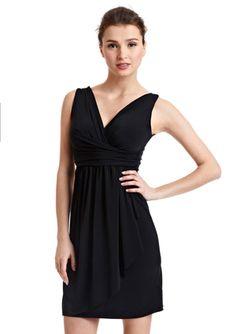 DONNA RAE Surplice Neckline Sleeveless Dress