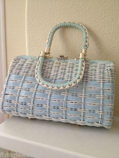 1960's Dorette Vinyl Wicker Basket Weave Handbag Hong Kong Blue & White