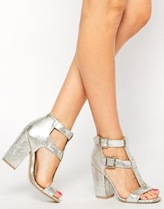 Enlarge New Look Search Silver Strap Heeled Sandals