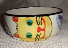 Hand painted bowl, cats and fish, Signed Hardin.