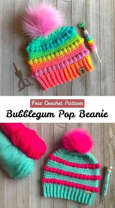 Crochet Bubblegum Pop Beanie Free Pattern & Author Of course we have for you Free Written Pattern where is everything explained Clearly. Thanks to author Crazy4CrochetMomma. If search for this author you can also discover many other beautiful items and pretty pictures. Good luck, we...