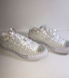 a4ec5fff7fd9 Bedazzled bling all star chuck taylors converse. white on white chucks   perfect for weddings