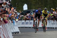 Tejay van Garderen of the United States riding for the BMC Racing Team races Rafal Majka of Poland riding for Tinkoff-Saxo during stage three of the 2014 USA Pro Challenge from Gunnison to Monarch Mountain on August 20, 2014 in Monarch, Colorado.