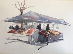 Hötorget Watercolor Sketch Stefan Gadnell