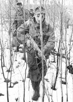 German mountain troops (Gebirgsjäger) on the Eastern Front, March 1944. Note: He…