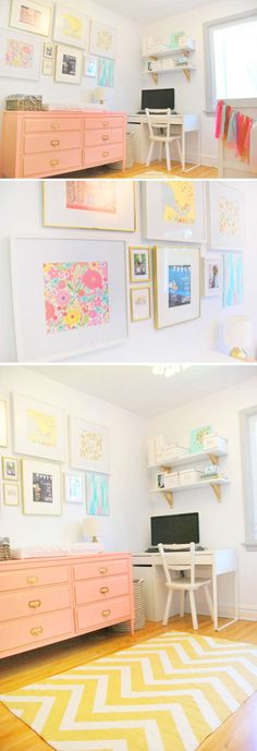 love the wall above the changing table. collage inspiration