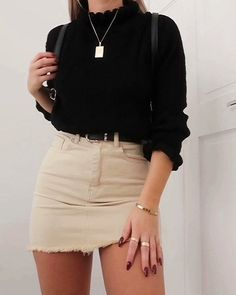 Schwarzer Pullover und Rock Outfit - Frauen Sommer Mode - Best Of Women Outfits Denim Skirt Outfits, Rock Outfits, Spring Outfits, Trendy Outfits, Cute Outfits, Fashion Outfits, Womens Fashion, Denim Skirts, Outfit With Skirt