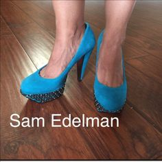 Sam Edelman suede heels Teal suede heals.  Studs on the platform and mirror like in the inside of the heels. Perfect jewel color for holidays!  Wear it with a LBD and make these pop and make you stand out 🎉😃 Sam Edelman Shoes Heels