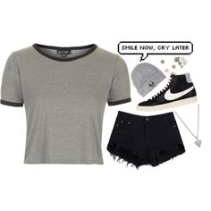 //smile now, cry later by lostfangirl on Polyvore featuring Topshop, NIKE, FOSSIL and With Love From CA