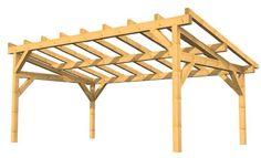 Exemple de charpente auvent ou préau à faible pente – Les techniques pour les charpentes en bois