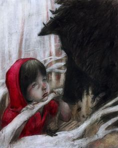 'Good day, Little Red Riding Hood,' said he. 'Thank you kindly, wolf.' I think Little Red is going to be published simultaneously in english by an Austr. The Wolf Little Red Ridding Hood, Red Riding Hood, Creative Illustration, Illustration Art, Food Illustrations, Charles Perrault, Big Bad Wolf, Wow Art, Red Hood