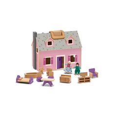 "Enjoy a ""home away from home"" with this delightful wooden dollhouse. Two flexible wooden play figures live in this house, complete with eleven pieces of wooden furniture. The dollhouse opens for easy access and folds closed for convenient storage."