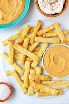 """Skip the forks in favor of your fingers with a quick and easy holiday-inspired recipe for creamy pumpkin dip paired with pie crust """"fries!"""""""