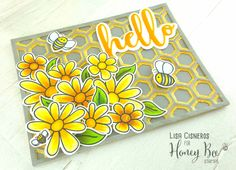 Card created using Honey Bee Stamps Busy Bees Stamp Set, Layering Hexagon Die Set, hello buzz word dies, copic markers