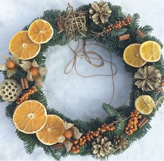 Rustic Natural Fruits Wreath Winter Decoration – Welcome My World Christmas Candle Decorations, Christmas Door Wreaths, New Years Decorations, Christmas Mood, Christmas Makes, Christmas Candles, Holiday Wreaths, Christmas Crafts, Christmas Ornaments