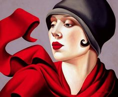Red by artist Tamara Lempicka aka Tamara de Lempicka, (b.May 1898 Warsaw Poland - d. March Cuernavaca, Mexico) was a Polish Art Deco painter. Art And Illustration, Illustrations Vintage, Vintage Artwork, Arte Art Deco, Moda Art Deco, Estilo Art Deco, Oil On Canvas, Canvas Prints, Art Prints
