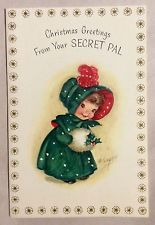 UNUSED M. Cooper Little Girl Green Dress 1950's Vintage Christmas Greeting Card