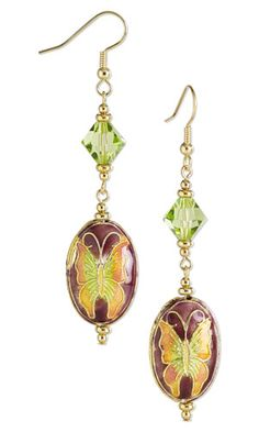 Butterfly Earrings with Cloisonné Beads, Gold-Plated Brass Beads and SWAROVSKI ELEMENTS. Design by Rose Wingenbach. #FMG Design Idea CB6N