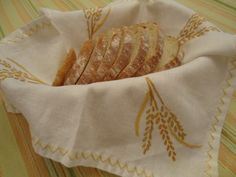 Embroidery Wheat Shieves Bread Basket Cloth / Photography by Ana Vilas-Boas