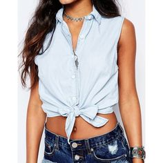 Glamorous Sleeveless Denim Shirt With Tie Front (€16) ❤ liked on Polyvore featuring tops, sleeveless button-down shirts, sleeveless tops, denim top, crop shirt and blue button-down shirts