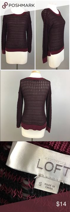"LOFT Burgundy Crew Pull Over Long Sleeve Sweater LOFT Burgundy Crew Pull Over Long Sleeve Sweater. Size small (4-6). Thank you for looking at my listing. Please feel free to comment with any questions (no trades/modeling).  •Fabric:  85% Cotton 15% Nylon •Bust: 44"" •Length: 25"" •Condition:  VGUC, no holes or stains.   25% off all Bundles or 3+ items! Reasonable offers welcome. LOFT Sweaters Crew & Scoop Necks"