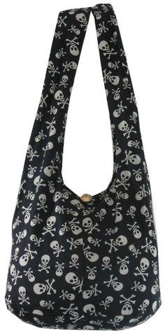 Amazon.com: Black Cotton Printed Skull Crossbody Shoulder Hippie Boho Hobo Messenger Bag Goth Punk Purse PK01: Clothing