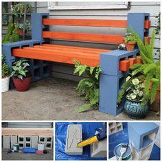 DIY OUTDOOR BENCH....using Cinder Blocks! Directions... http://www.ilgilibilgili.com/en/how-to-make-a-simple-outdoor-bench.html