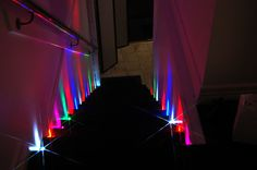 Party Dots Lighting up our stairs. They Blink, Glow, Turn on and Off and Last for DAYS.