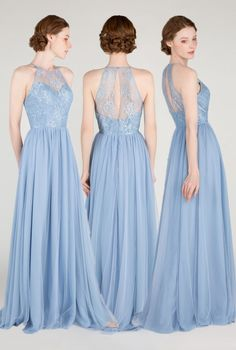 Windsor Blue Illusion Halter Lace Bridesmaid Dress #bridalparty #bridesmaiddresses #weddinginspiration