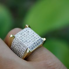 3 Ct Round D/Clear Diamond Mens Engagement Wedding Band Ring Yellow Gold Over Mens Gold Diamond Rings, Diamond Wedding Rings, Yellow Gold Rings, Wedding Ring Bands, Mens Band Rings, Rings For Men, Large Wedding Rings, Mens Pinky Ring, Gents Ring