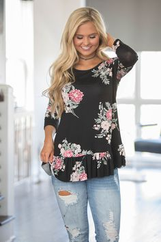 Cherished Memories Floral Blouse Black - The Pink Lily