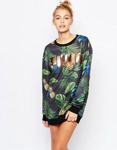 Puma | Puma Sweat Dress With All Over Eco Print & Rose Gold Logo